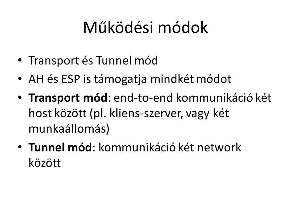 Működési módok • Transport és Tunnel mód • AH és ESP is támogatja mindkét módot • Transport mód: end-to-end kommunikáció két host között (pl. kliens-s
