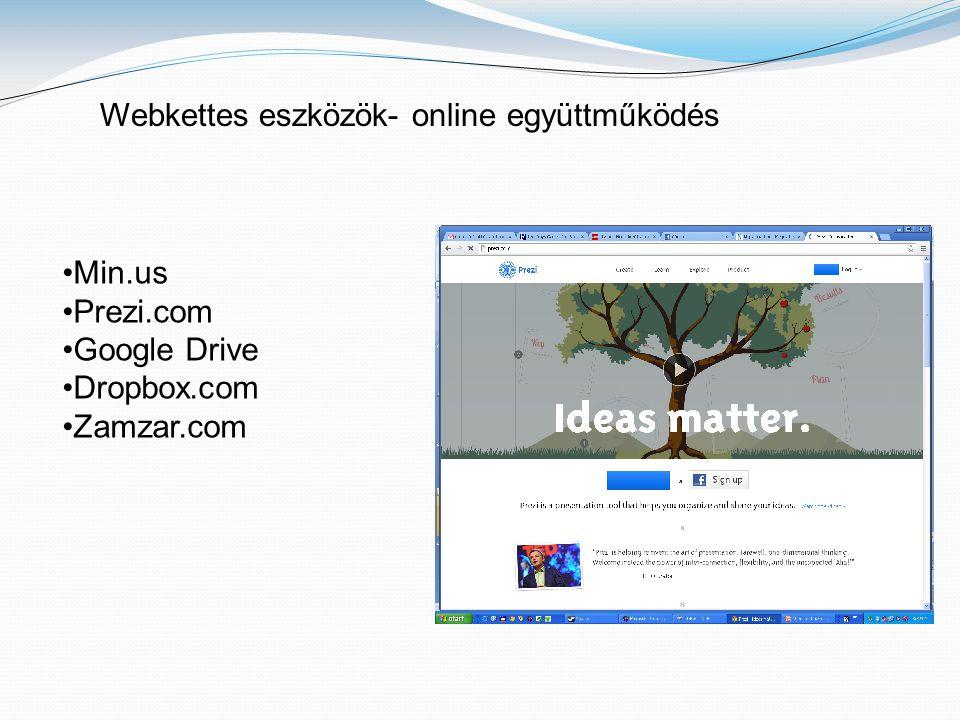 Webkettes eszközök- online együttműködés •Min.us •Prezi.com •Google Drive •Dropbox.com •Zamzar.com