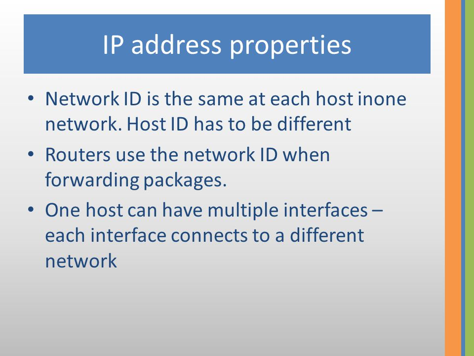 History of IP classes • Back in the dark ages the first 8 bits were the network ID, the rest was the host id • It was realized soon how smal that number is.