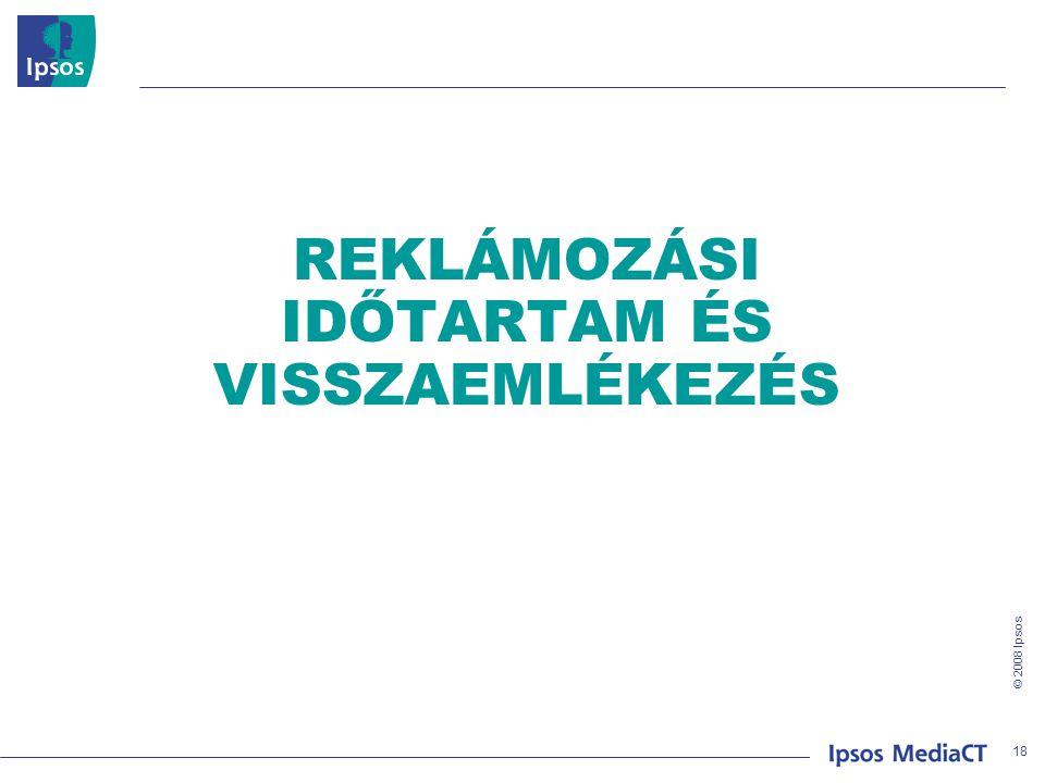 © 2008 Ipsos REKLÁMOZÁSI IDŐTARTAM ÉS VISSZAEMLÉKEZÉS 18