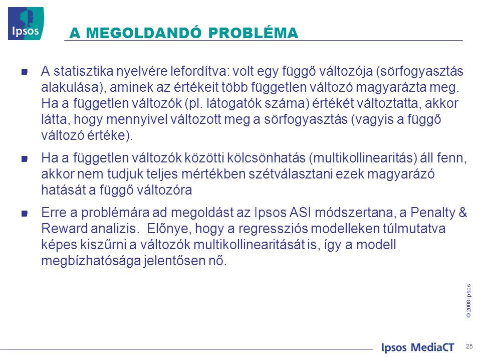 © 2008 Ipsos A MEGOLDANDÓ PROBLÉMA A statisztika nyelvére lefordítva: volt egy függő változója (sörfogyasztás alakulása), aminek az értékeit több függ