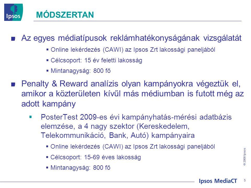 © 2008 Ipsos MÓDSZERTAN Az egyes médiatípusok reklámhatékonyságának vizsgálatát  Online lekérdezés (CAWI) az Ipsos Zrt lakossági paneljából  Célcsop