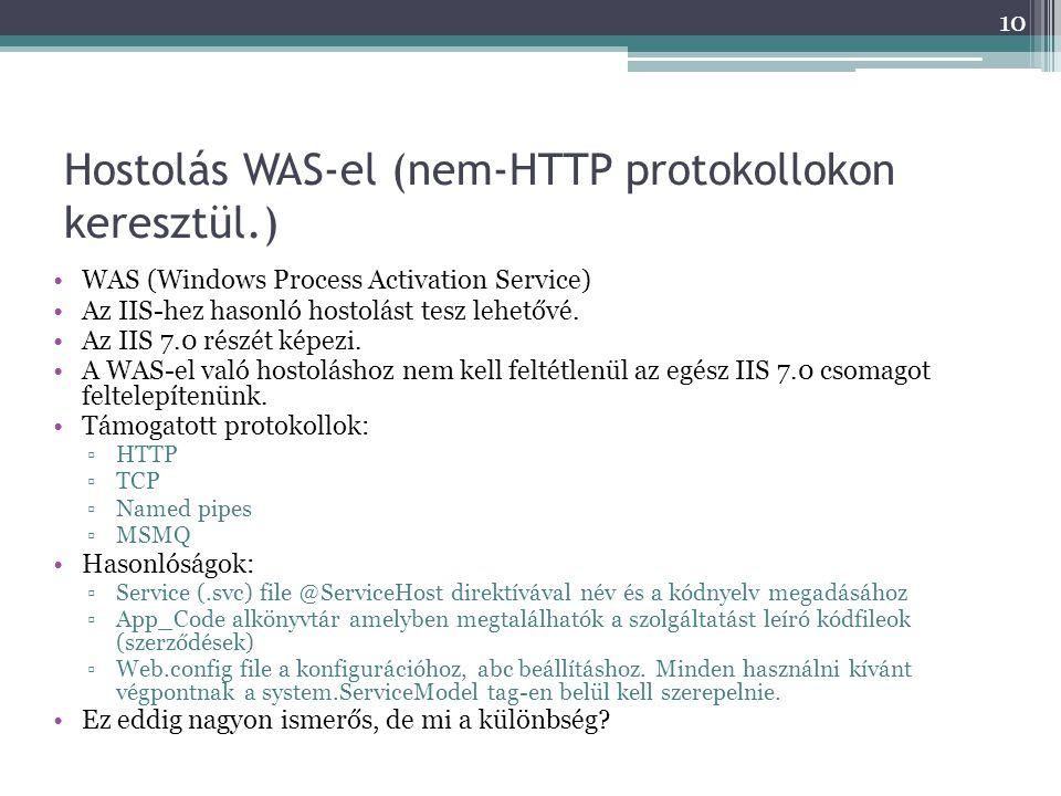 Hostolás WAS-el (nem-HTTP protokollokon keresztül.) •WAS (Windows Process Activation Service) •Az IIS-hez hasonló hostolást tesz lehetővé. •Az IIS 7.0