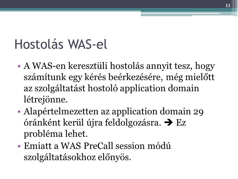 Hostolás WAS-el •A WAS-en keresztüli hostolás annyit tesz, hogy számítunk egy kérés beérkezésére, még mielőtt az szolgáltatást hostoló application dom