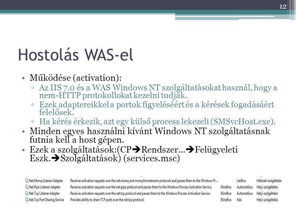 Hostolás WAS-el •Működése (activation): ▫Az IIS 7.0 és a WAS Windows NT szolgáltatásokat használ, hogy a nem-HTTP protokollokat kezelni tudják. ▫Ezek