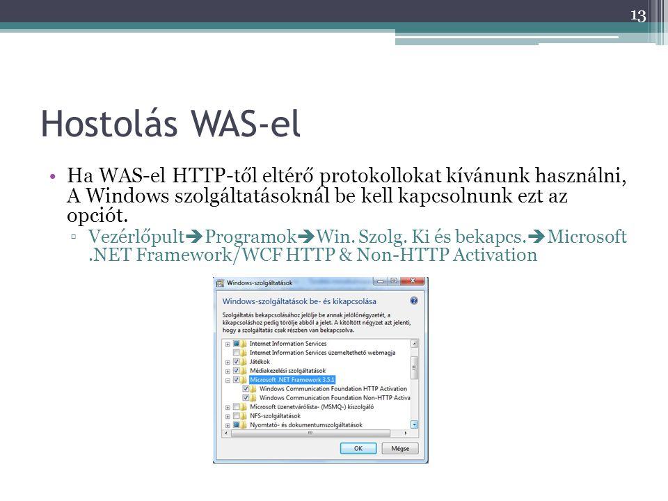 Hostolás WAS-el •Ha WAS-el HTTP-től eltérő protokollokat kívánunk használni, A Windows szolgáltatásoknál be kell kapcsolnunk ezt az opciót. ▫Vezérlőpu