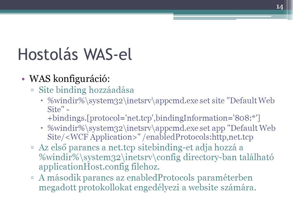 Hostolás WAS-el •WAS konfiguráció: ▫Site binding hozzáadása  %windir%\system32\inetsrv\appcmd.exe set site