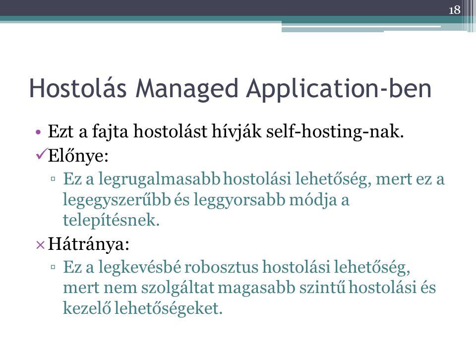 Hostolás Managed Application-ben •Ezt a fajta hostolást hívják self-hosting-nak.  Előnye: ▫Ez a legrugalmasabb hostolási lehetőség, mert ez a legegys