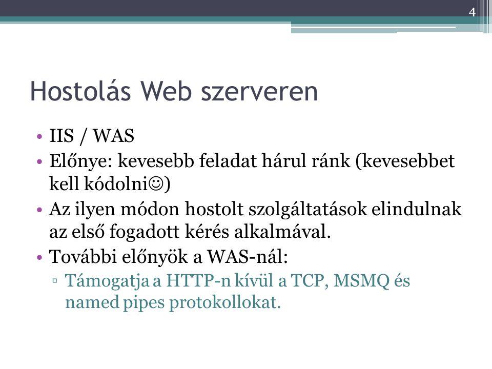 Hostolás Web szerveren •IIS / WAS •Előnye: kevesebb feladat hárul ránk (kevesebbet kell kódolni  ) •Az ilyen módon hostolt szolgáltatások elindulnak