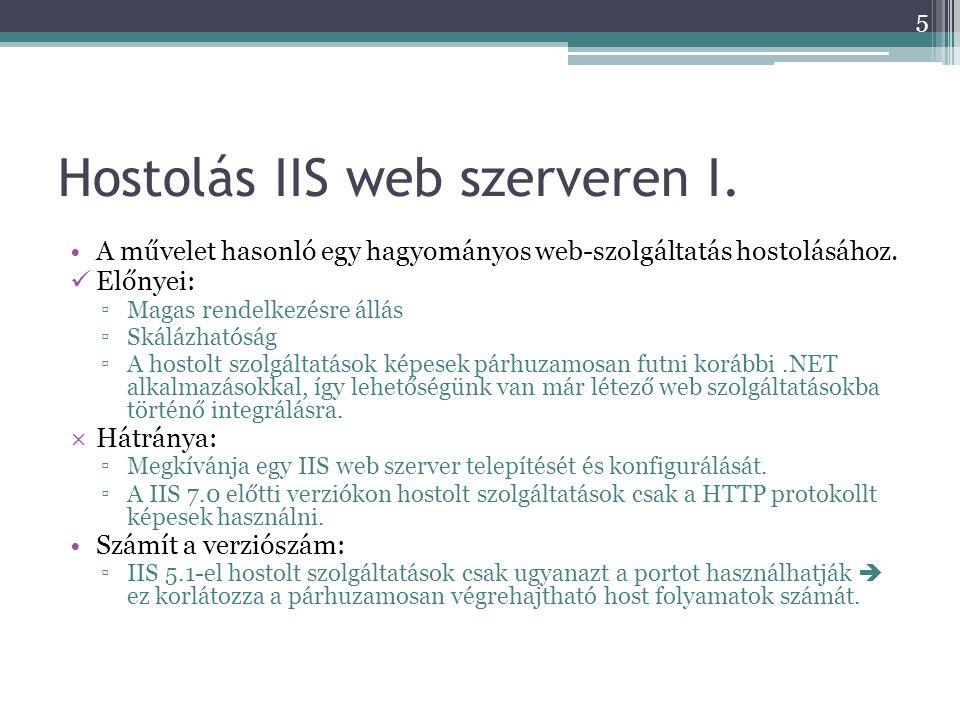 Hostolás IIS web szerveren I. •A művelet hasonló egy hagyományos web-szolgáltatás hostolásához.  Előnyei: ▫Magas rendelkezésre állás ▫Skálázhatóság ▫