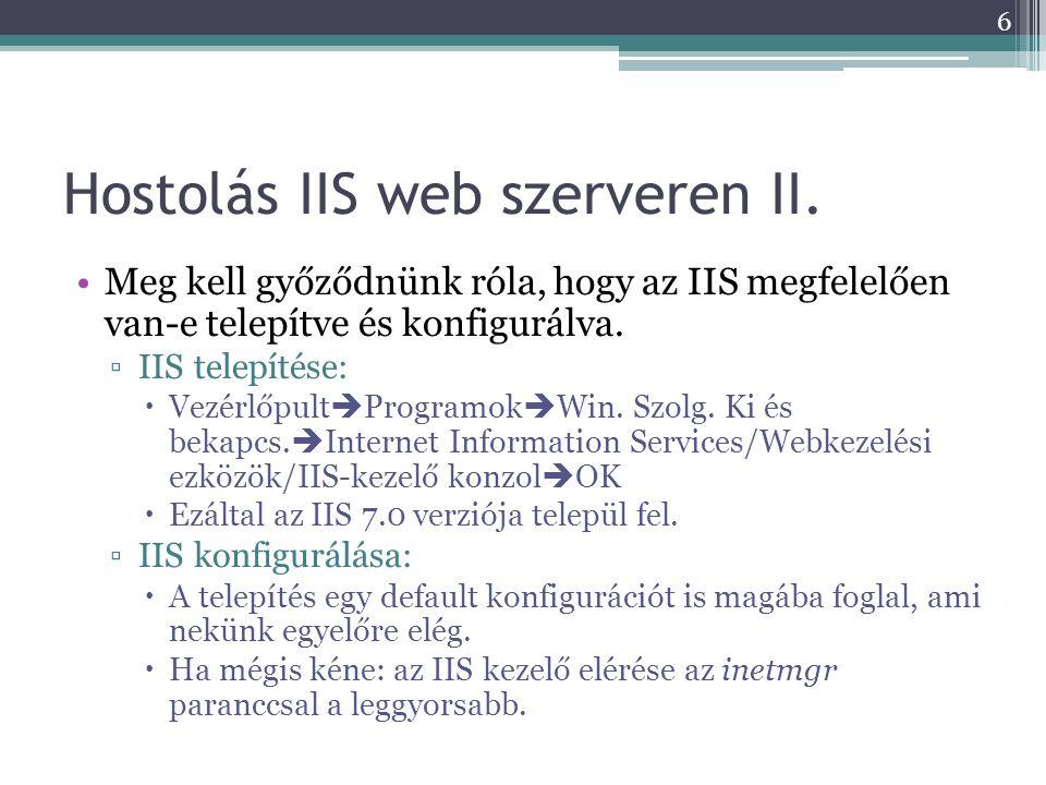 WCF szolgáltatás hostolása Windows szolgáltatással 4.ServiceHost változó létrehozása public ServiceHost serviceHost = null; 5.ServiceName propery beállítása és entrypoint megadása (ha eddig nem volt) public VodkaWindowsService() { ServiceName = Vodka Windows Service ; } public static void Main(string[] args) { ServiceBase.Run(new VodkaWindowsService()); } 27