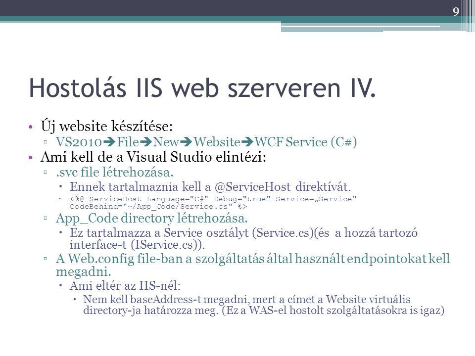 Hostolás IIS web szerveren IV. •Új website készítése: ▫VS2010  File  New  Website  WCF Service (C#) •Ami kell de a Visual Studio elintézi: ▫.svc f