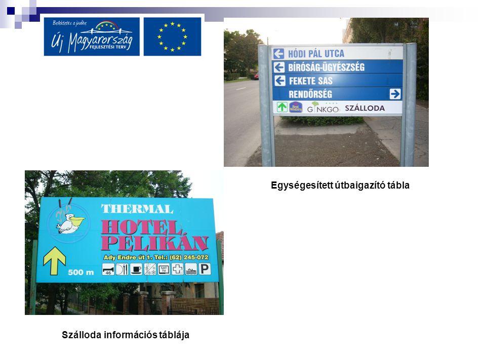 Egységesített útbaigazító tábla Szálloda információs táblája