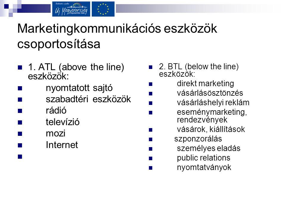 Marketingkommunikációs eszközök csoportosítása  1. ATL (above the line) eszközök:  nyomtatott sajtó  szabadtéri eszközök  rádió  televízió  mozi