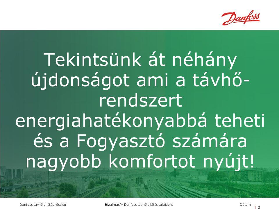 Bizalmas/A Danfoss távhő ellátás tulajdonaDanfoss távhő ellátás részlegDátum | 3| 3 Tekintsünk át néhány újdonságot ami a távhő- rendszert energiahaté
