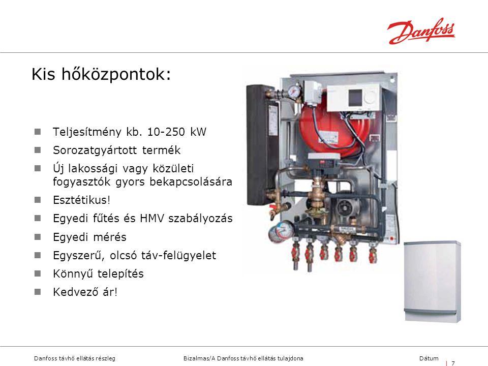 Bizalmas/A Danfoss távhő ellátás tulajdonaDanfoss távhő ellátás részlegDátum | 7| 7 Kis hőközpontok:  Teljesítmény kb. 10-250 kW  Sorozatgyártott te