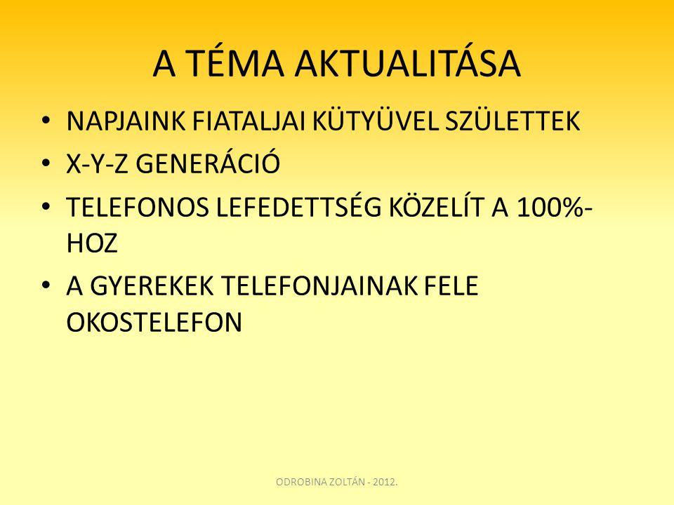 A TÉMA AKTUALITÁSA • NAPJAINK FIATALJAI KÜTYÜVEL SZÜLETTEK • X-Y-Z GENERÁCIÓ • TELEFONOS LEFEDETTSÉG KÖZELÍT A 100%- HOZ • A GYEREKEK TELEFONJAINAK FE