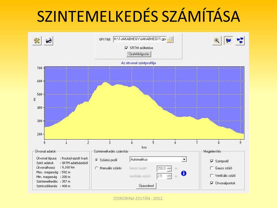 SZINTEMELKEDÉS SZÁMÍTÁSA ODROBINA ZOLTÁN - 2012.