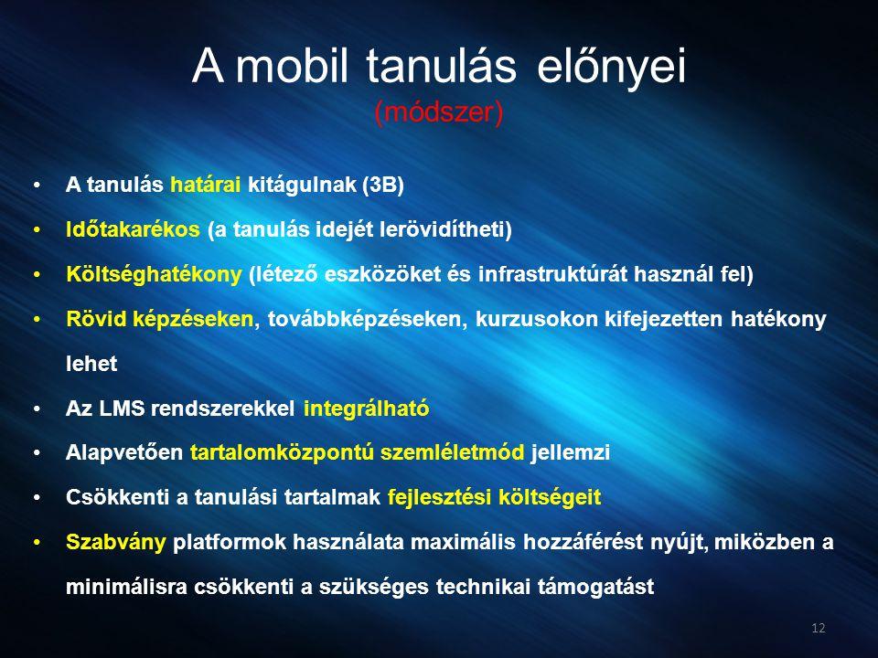 A mobil tanulás előnyei (módszer) •A tanulás határai kitágulnak (3B) •Időtakarékos (a tanulás idejét lerövidítheti) •Költséghatékony (létező eszközöke