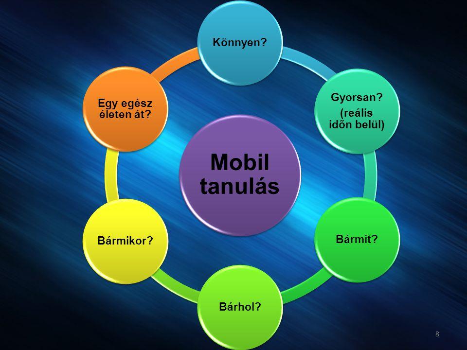 8 Mobil tanulás Könnyen? Gyorsan? (reális időn belül) Bármit?Bárhol?Bármikor? Egy egész életen át?