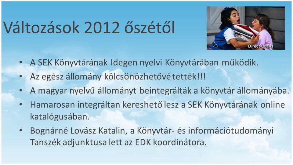 Változások 2012 őszétől • A SEK Könyvtárának Idegen nyelvi Könyvtárában működik. • Az egész állomány kölcsönözhetővé tették!!! • A magyar nyelvű állom