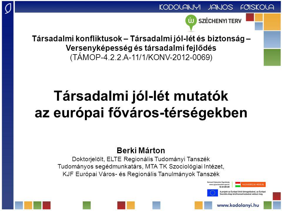 Társadalmi jól-lét mutatók az európai főváros-térségekben Berki Márton Doktorjelölt, ELTE Regionális Tudományi Tanszék Tudományos segédmunkatárs, MTA