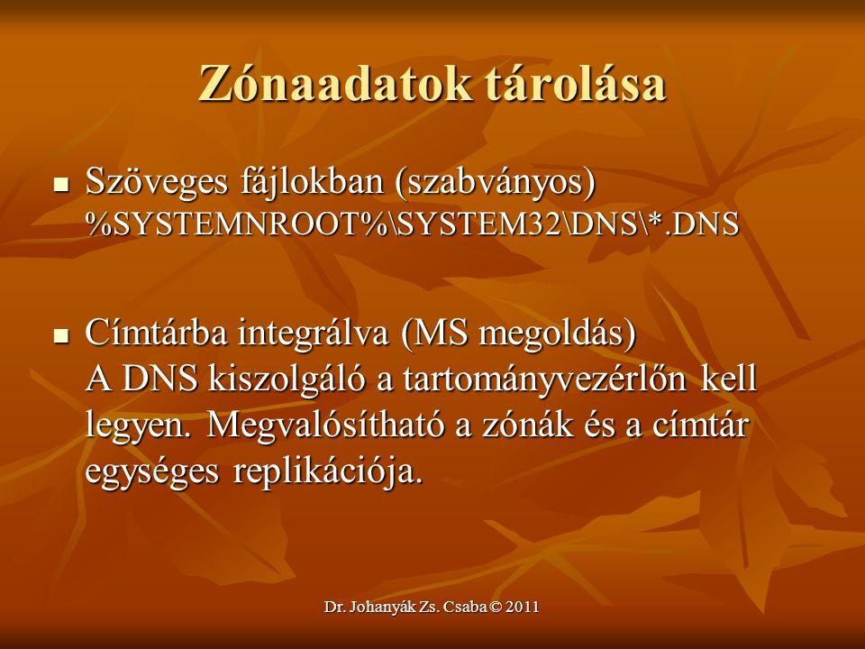 Dr. Johanyák Zs. Csaba © 2011 Zónaadatok tárolása  Szöveges fájlokban (szabványos) %SYSTEMNROOT%\SYSTEM32\DNS\*.DNS  Címtárba integrálva (MS megoldá