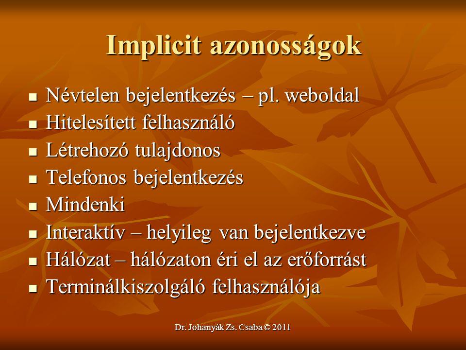 Dr. Johanyák Zs. Csaba © 2011 Implicit azonosságok  Névtelen bejelentkezés – pl. weboldal  Hitelesített felhasználó  Létrehozó tulajdonos  Telefon
