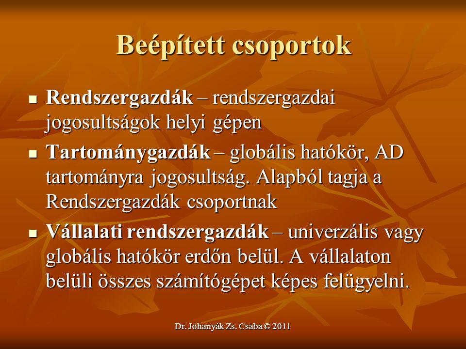 Dr. Johanyák Zs. Csaba © 2011 Beépített csoportok  Rendszergazdák – rendszergazdai jogosultságok helyi gépen  Tartománygazdák – globális hatókör, AD