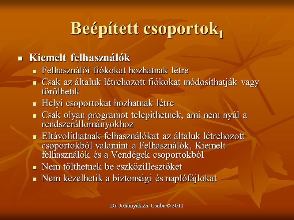 Dr. Johanyák Zs. Csaba © 2011 Beépített csoportok 1  Kiemelt felhasználók  Felhasználói fiókokat hozhatnak létre  Csak az általuk létrehozott fióko