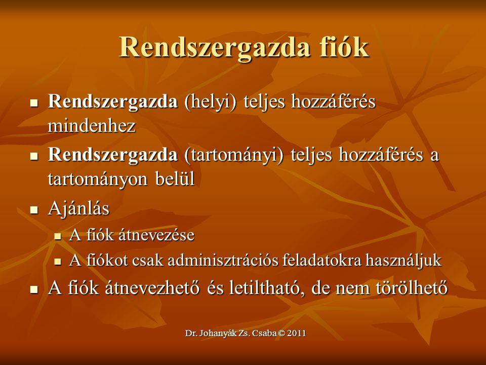 Dr. Johanyák Zs. Csaba © 2011 Rendszergazda fiók  Rendszergazda (helyi) teljes hozzáférés mindenhez  Rendszergazda (tartományi) teljes hozzáférés a