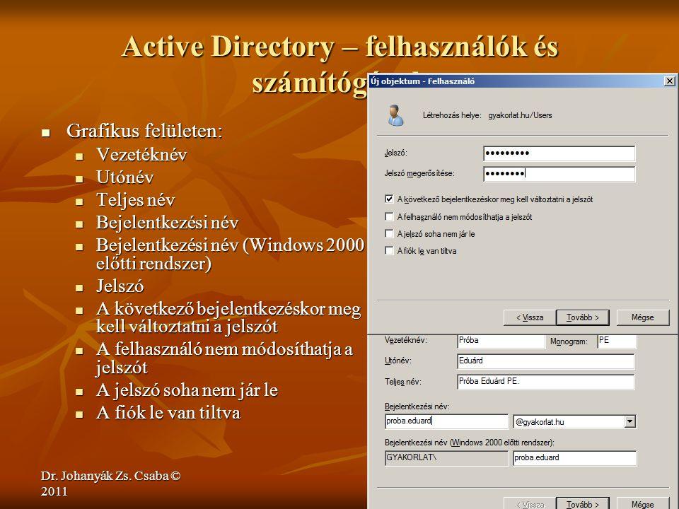 Dr. Johanyák Zs. Csaba © 2011 Active Directory – felhasználók és számítógépek  Grafikus felületen:  Vezetéknév  Utónév  Teljes név  Bejelentkezés