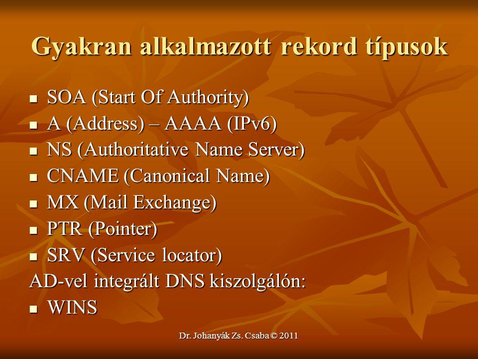 Dr. Johanyák Zs. Csaba © 2011 Gyakran alkalmazott rekord típusok  SOA (Start Of Authority)  A (Address) – AAAA (IPv6)  NS (Authoritative Name Serve