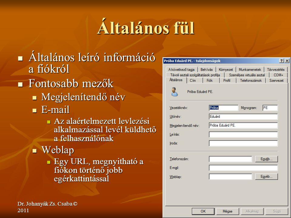 Dr. Johanyák Zs. Csaba © 2011 Általános fül  Általános leíró információ a fiókról  Fontosabb mezők  Megjelenítendő név  E-mail  Az alaértelmezett