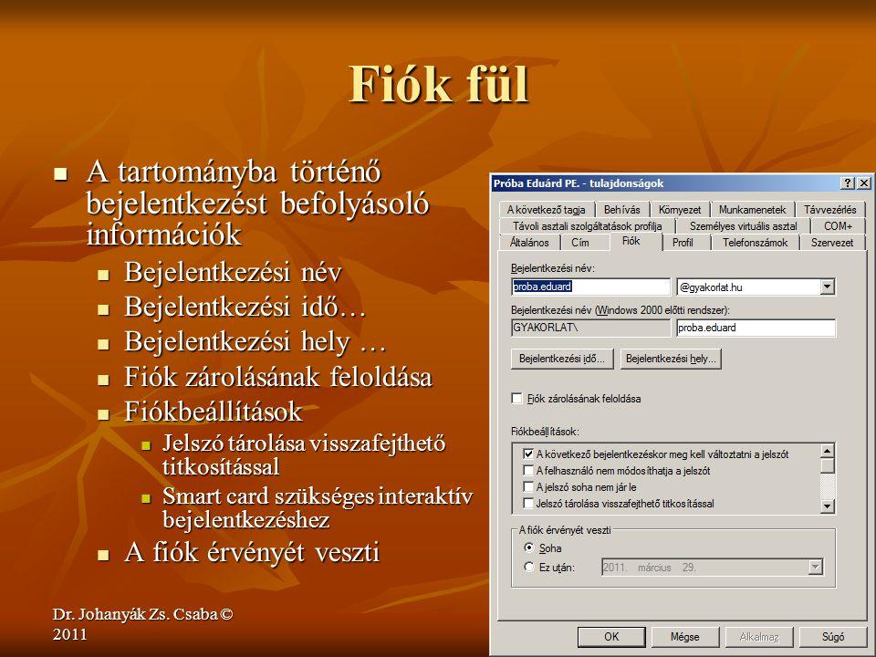 Dr. Johanyák Zs. Csaba © 2011 Fiók fül  A tartományba történő bejelentkezést befolyásoló információk  Bejelentkezési név  Bejelentkezési idő…  Bej
