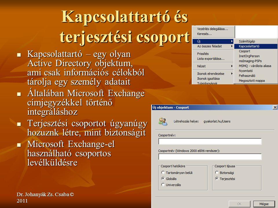 Dr. Johanyák Zs. Csaba © 2011 Kapcsolattartó és terjesztési csoport  Kapcsolattartó – egy olyan Active Directory objektum, ami csak információs célok