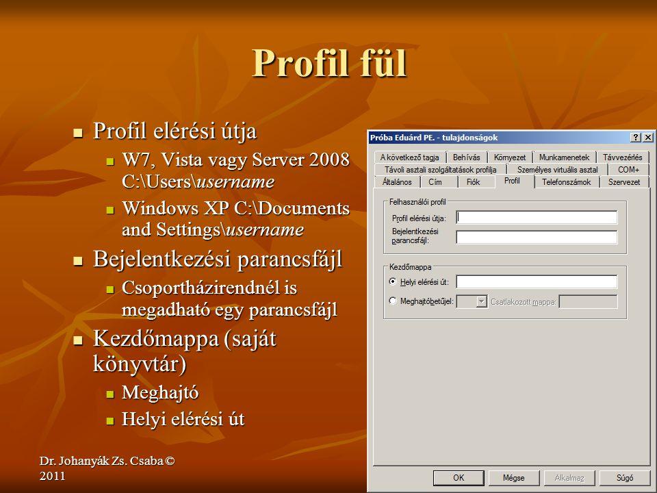Dr. Johanyák Zs. Csaba © 2011 Profil fül  Profil elérési útja  W7, Vista vagy Server 2008 C:\Users\username  Windows XP C:\Documents and Settings\u