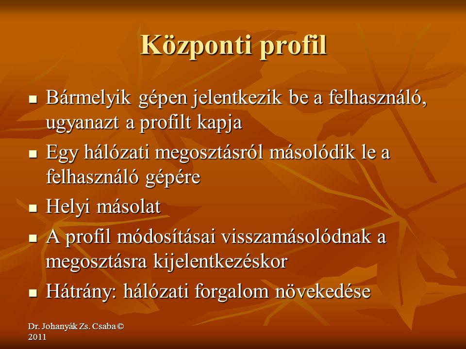 Dr. Johanyák Zs. Csaba © 2011 Központi profil  Bármelyik gépen jelentkezik be a felhasználó, ugyanazt a profilt kapja  Egy hálózati megosztásról más