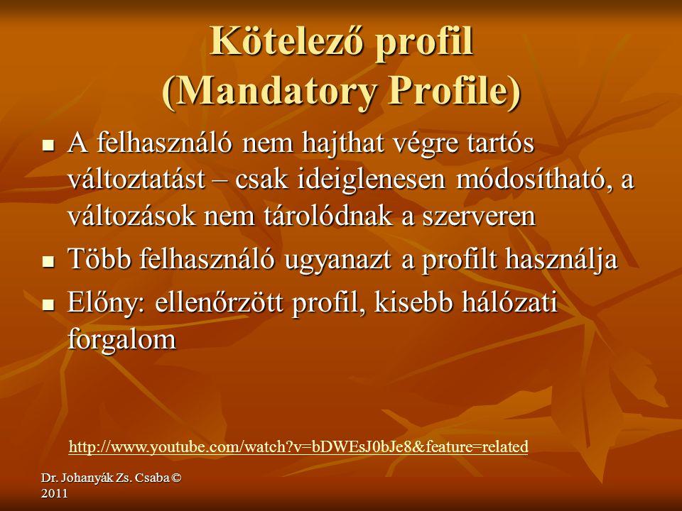 Dr. Johanyák Zs. Csaba © 2011 Kötelező profil (Mandatory Profile)  A felhasználó nem hajthat végre tartós változtatást – csak ideiglenesen módosíthat
