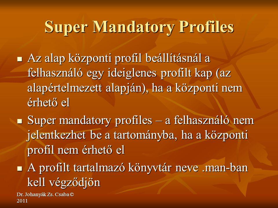 Dr. Johanyák Zs. Csaba © 2011 Super Mandatory Profiles  Az alap központi profil beállításnál a felhasználó egy ideiglenes profilt kap (az alapértelme