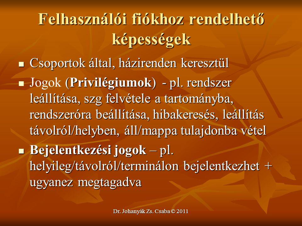 Dr. Johanyák Zs. Csaba © 2011 Felhasználói fiókhoz rendelhető képességek  Csoportok által, házirenden keresztül  (Privilégiumok) - pl. rendszer leál