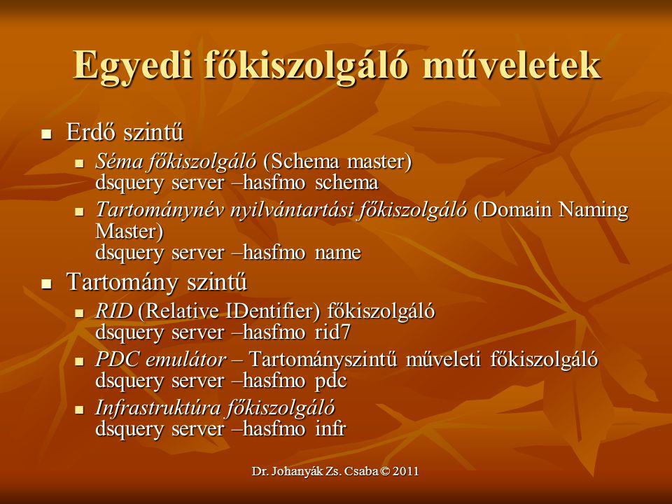 Dr. Johanyák Zs. Csaba © 2011 Egyedi főkiszolgáló műveletek  Erdő szintű  Séma főkiszolgáló (Schema master) dsquery server –hasfmo schema  Tartomán