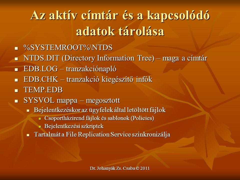 Dr. Johanyák Zs. Csaba © 2011 Az aktív címtár és a kapcsolódó adatok tárolása  %SYSTEMROOT%\NTDS  NTDS.DIT (Directory Information Tree) – maga a cím