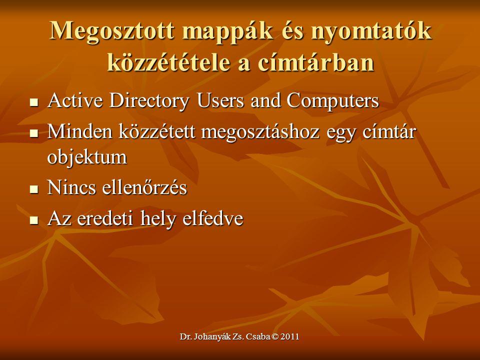 Dr. Johanyák Zs. Csaba © 2011 Megosztott mappák és nyomtatók közzététele a címtárban  Active Directory Users and Computers  Minden közzétett megoszt