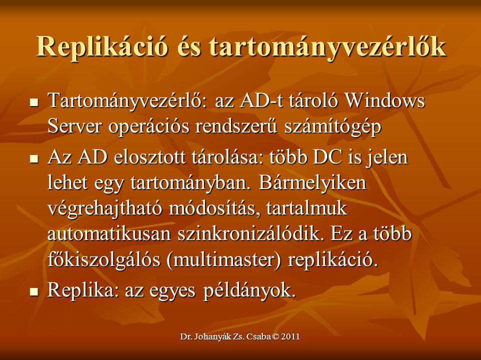Dr. Johanyák Zs. Csaba © 2011 Replikáció és tartományvezérlők  Tartományvezérlő: az AD-t tároló Windows Server operációs rendszerű számítógép  Az AD