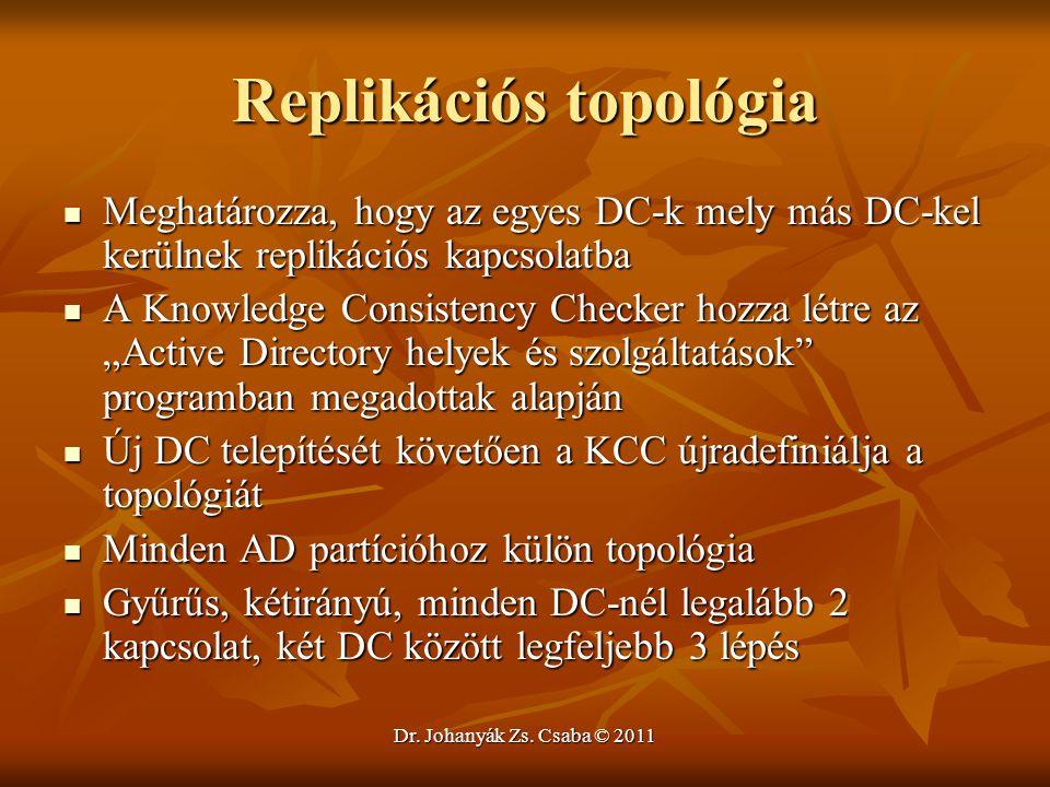 Dr. Johanyák Zs. Csaba © 2011 Replikációs topológia  Meghatározza, hogy az egyes DC-k mely más DC-kel kerülnek replikációs kapcsolatba  A Knowledge