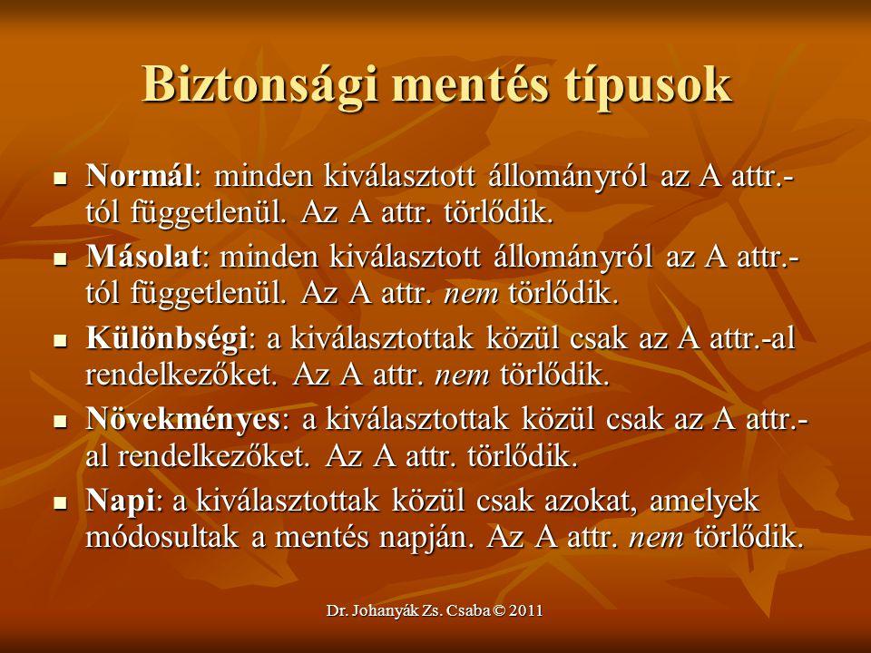 Dr. Johanyák Zs. Csaba © 2011 Biztonsági mentés típusok  Normál: minden kiválasztott állományról az A attr.- tól függetlenül. Az A attr. törlődik. 