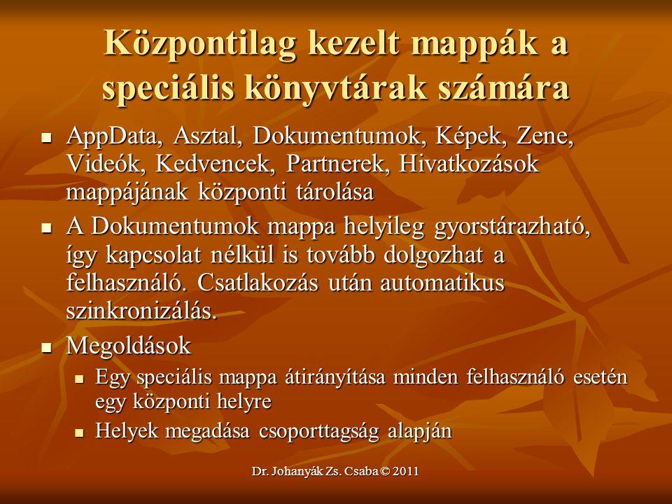 Dr. Johanyák Zs. Csaba © 2011 Központilag kezelt mappák a speciális könyvtárak számára  AppData, Asztal, Dokumentumok, Képek, Zene, Videók, Kedvencek