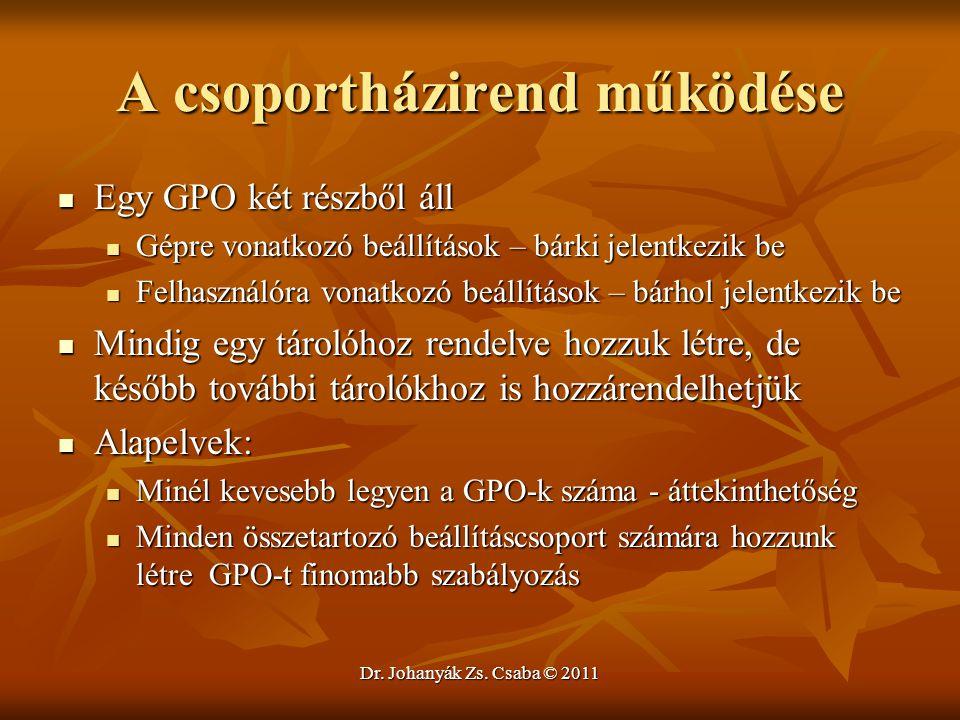 Dr. Johanyák Zs. Csaba © 2011 A csoportházirend működése  Egy GPO két részből áll  Gépre vonatkozó beállítások – bárki jelentkezik be  Felhasználór