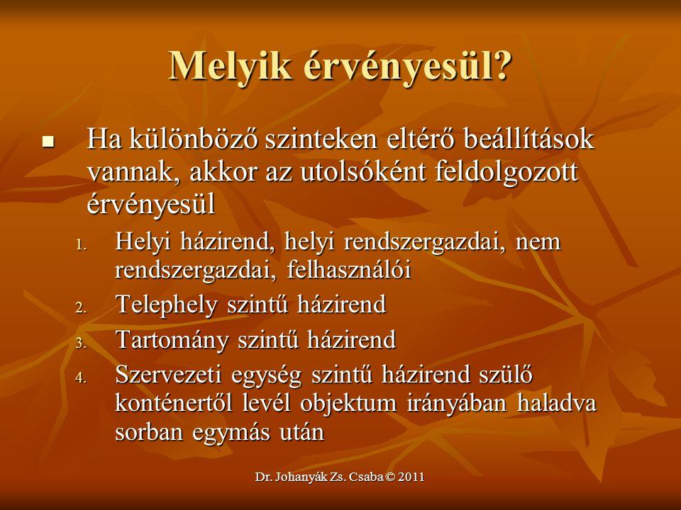 Dr. Johanyák Zs. Csaba © 2011 Melyik érvényesül?  Ha különböző szinteken eltérő beállítások vannak, akkor az utolsóként feldolgozott érvényesül 1. He